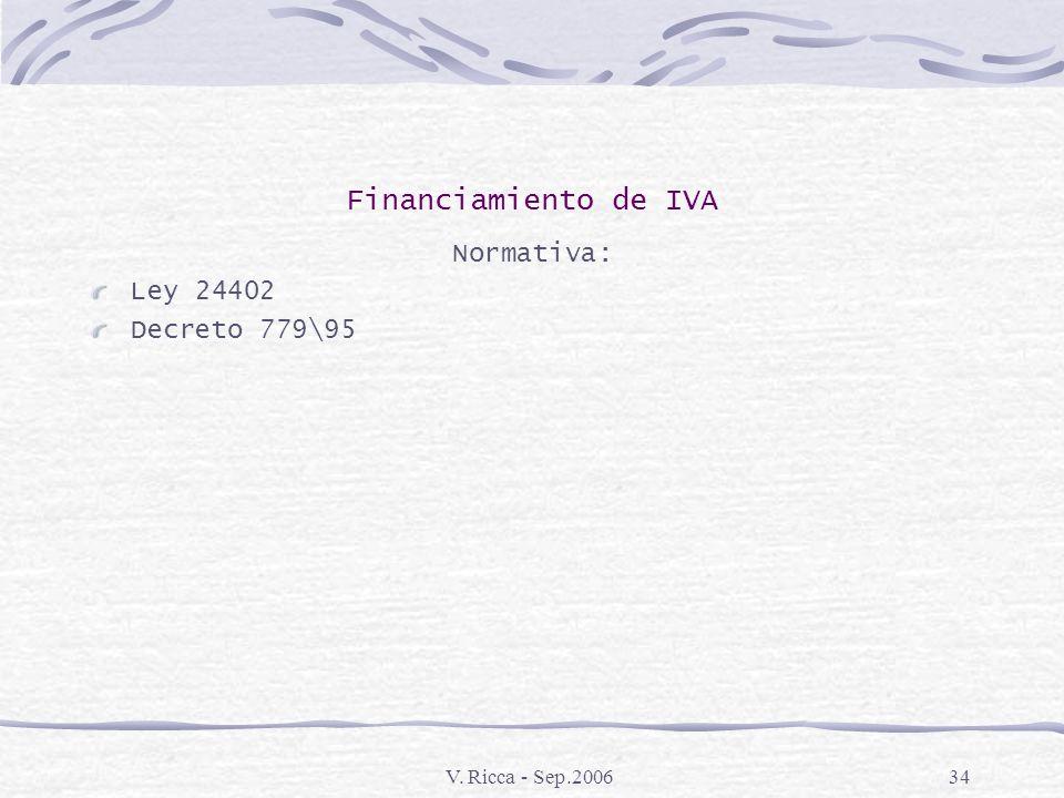V. Ricca - Sep.200633 Financiamiento de IVA Requisitos: Acreditar bajo declaración jurada la existencia de un plan o proyecto de inversión destinado a