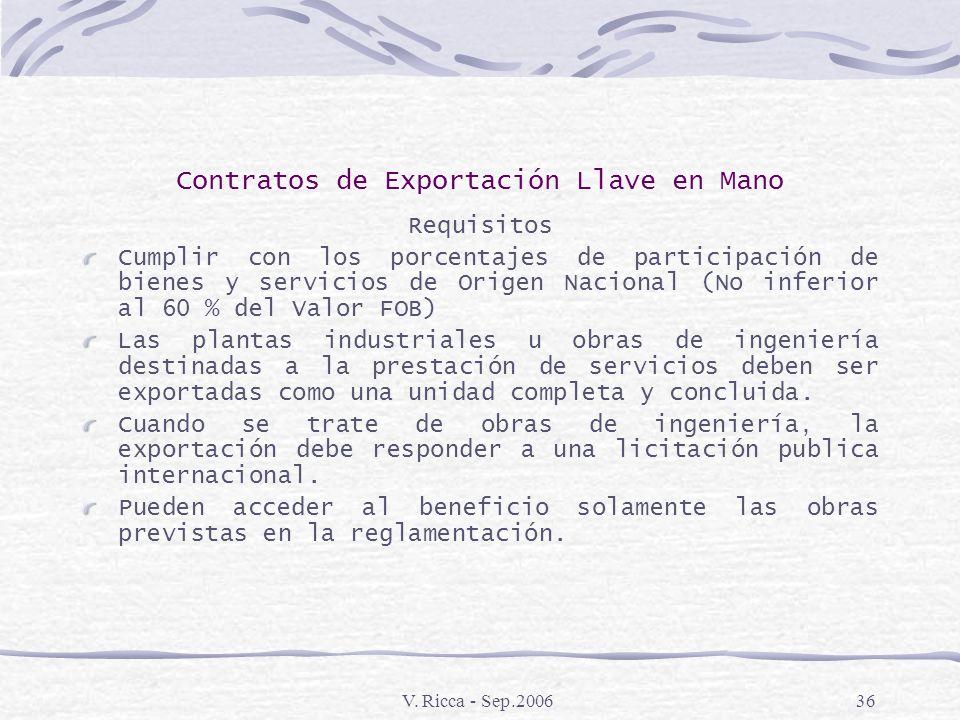 V. Ricca - Sep.200635 Contratos de Exportación Llave en Mano Aspectos Generales Constituye un Reembolso impositivo del 10% que se otorga a la venta al