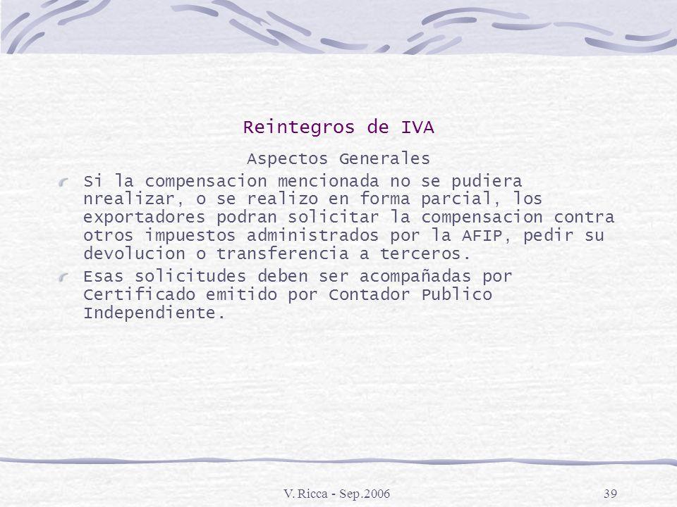 V. Ricca - Sep.200638 Reintegros de IVA Aspectos Generales Los exportadores podrán solicitar la compensacion del IVA que adeudaren con el IVA que les