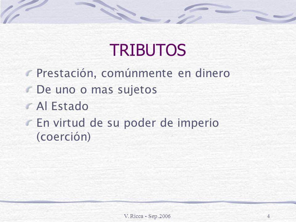 V. Ricca - Sep.20063 SERVICIOS PÚBLICOS - Defensa exterior Esenciales: - Administración de la Justicia - Preservación del Orden Interno - Etc. - Instr