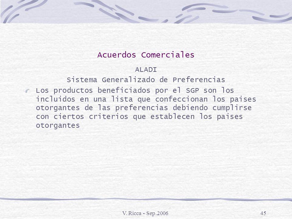 V. Ricca - Sep.200644 Acuerdos Comerciales ALADI Sistema Generalizado de Preferencias Consiste en el otorgamiento por parte de paises desarrollados, d