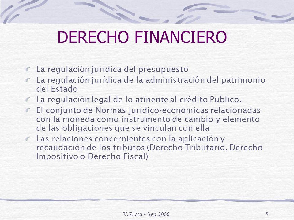 V. Ricca - Sep.20064 TRIBUTOS Prestación, comúnmente en dinero De uno o mas sujetos Al Estado En virtud de su poder de imperio (coerción)