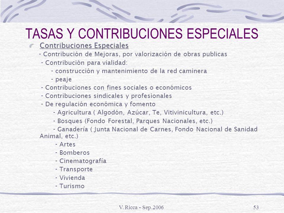 V. Ricca - Sep.200652 TASAS Y CONTRIBUCIONES ESPECIALES Tasas Nacionales Tasas Portuarias y por servicios aduaneros especiales Tasas por servicios san