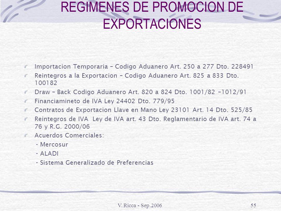 V. Ricca - Sep.200654 REGIMENES DE PROMOCION DE EXPORTACIONES Beneficios a la Exportación