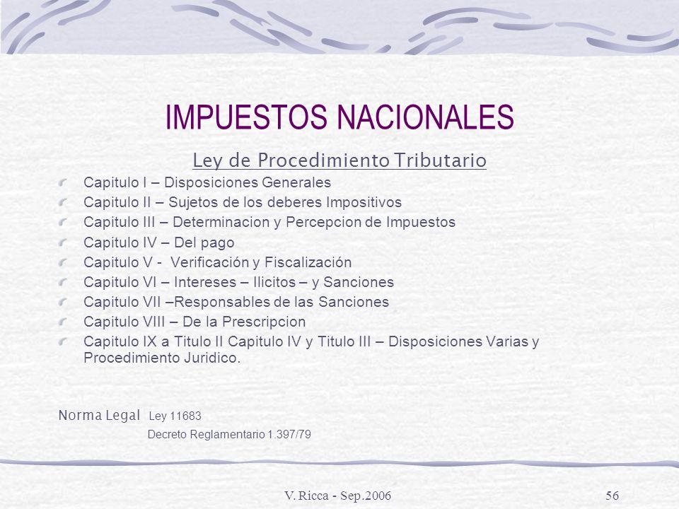 V. Ricca - Sep.200655 REGIMENES DE PROMOCION DE EXPORTACIONES Importacion Temporaria – Codigo Aduanero Art. 250 a 277 Dto. 228491 Reintegros a la Expo