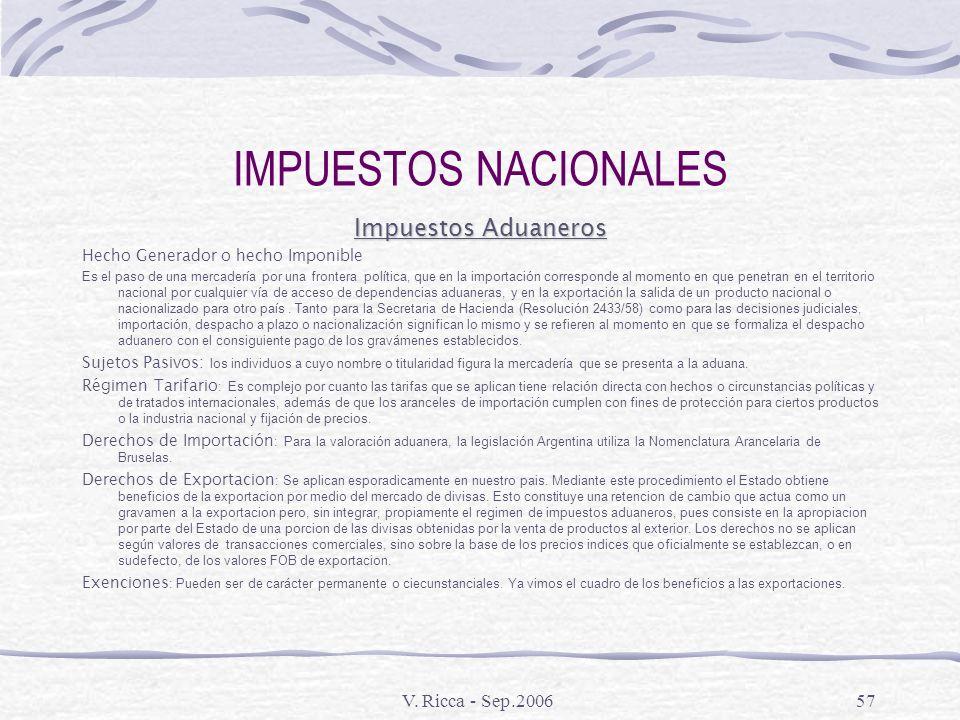 V. Ricca - Sep.200656 IMPUESTOS NACIONALES Ley de Procedimiento Tributario Capitulo I – Disposiciones Generales Capitulo II – Sujetos de los deberes I