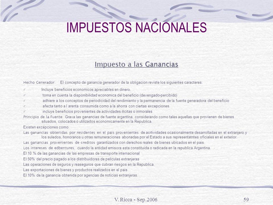 V. Ricca - Sep.200658 IMPUESTOS NACIONALES Impuestos Aduaneros Regimenes suspensivos : Aquellos a que se encuentran sujetas mercaderias extranjeras, n