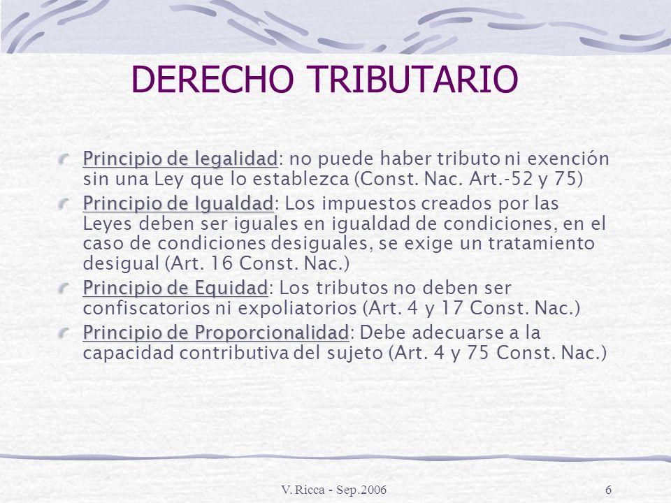 V. Ricca - Sep.20065 DERECHO FINANCIERO La regulación jurídica del presupuesto La regulación jurídica de la administración del patrimonio del Estado L