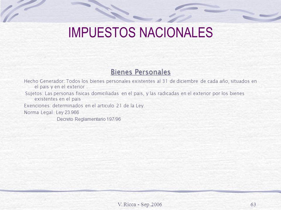 V. Ricca - Sep.200662 IMPUESTOS NACIONALES Monotributo Hecho Generador: Es un regimen integrado y simplificado relativo a los impuestos a las ganancia
