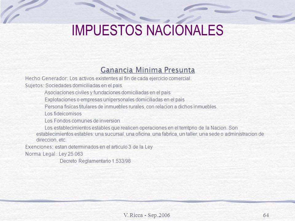 V. Ricca - Sep.200663 IMPUESTOS NACIONALES Bienes Personales Hecho Generador: Todos los bienes personales existentes al 31 de diciembre de cada año, s