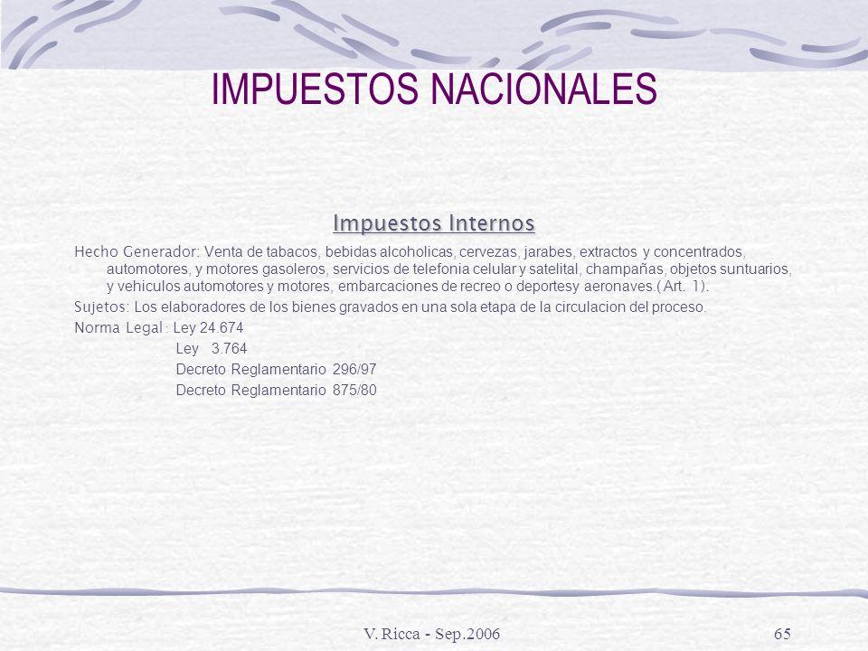 V. Ricca - Sep.200664 IMPUESTOS NACIONALES Ganancia Minima Presunta Hecho Generador: Los activos existentes al fin de cada ejercicio comercial. Sujeto