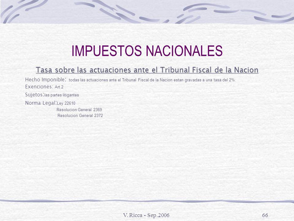 V. Ricca - Sep.200665 IMPUESTOS NACIONALES Impuestos Internos Hecho Generador: Venta de tabacos, bebidas alcoholicas, cervezas, jarabes, extractos y c