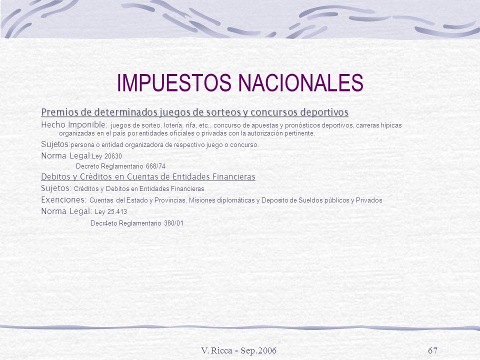 V. Ricca - Sep.200666 IMPUESTOS NACIONALES Tasa sobre las actuaciones ante el Tribunal Fiscal de la Nacion Hecho Imponible : todas las actuaciones ant