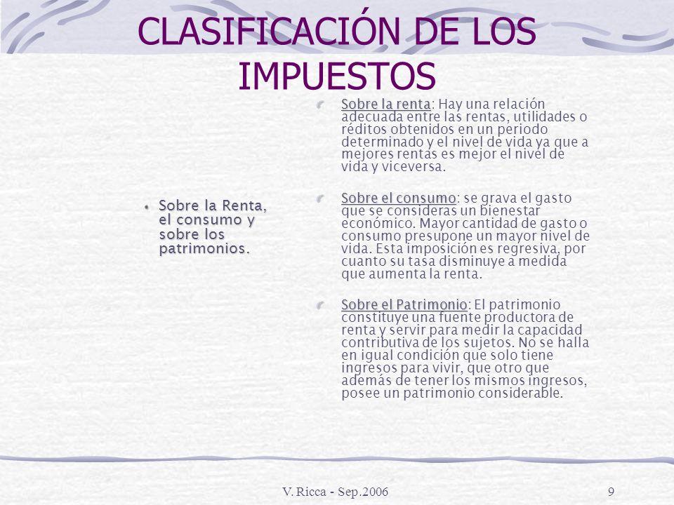 V. Ricca - Sep.20068 CLASIFICACIÓN DE LOS IMPUESTOS Directos e indirectos Proporcionales y Progresivos Es importante en la Argentina, ya que la Consti