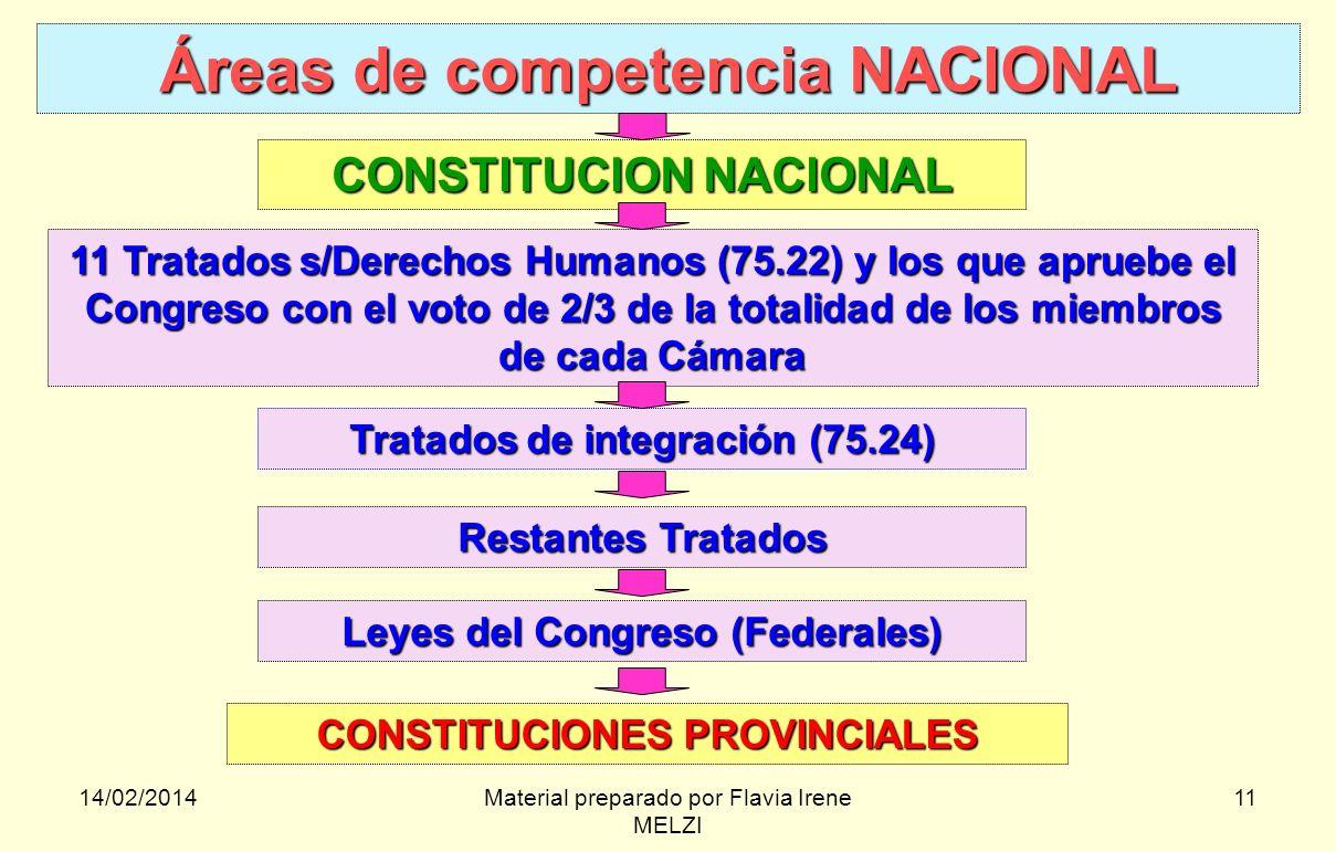 14/02/2014Material preparado por Flavia Irene MELZI 11 Áreas de competencia NACIONAL CONSTITUCION NACIONAL 11 Tratados s/Derechos Humanos (75.22) y lo