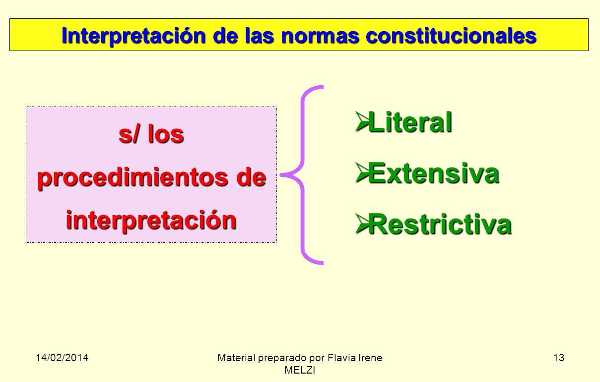 14/02/2014Material preparado por Flavia Irene MELZI 13 Interpretación de las normas constitucionales s/ los procedimientos de interpretación Literal L