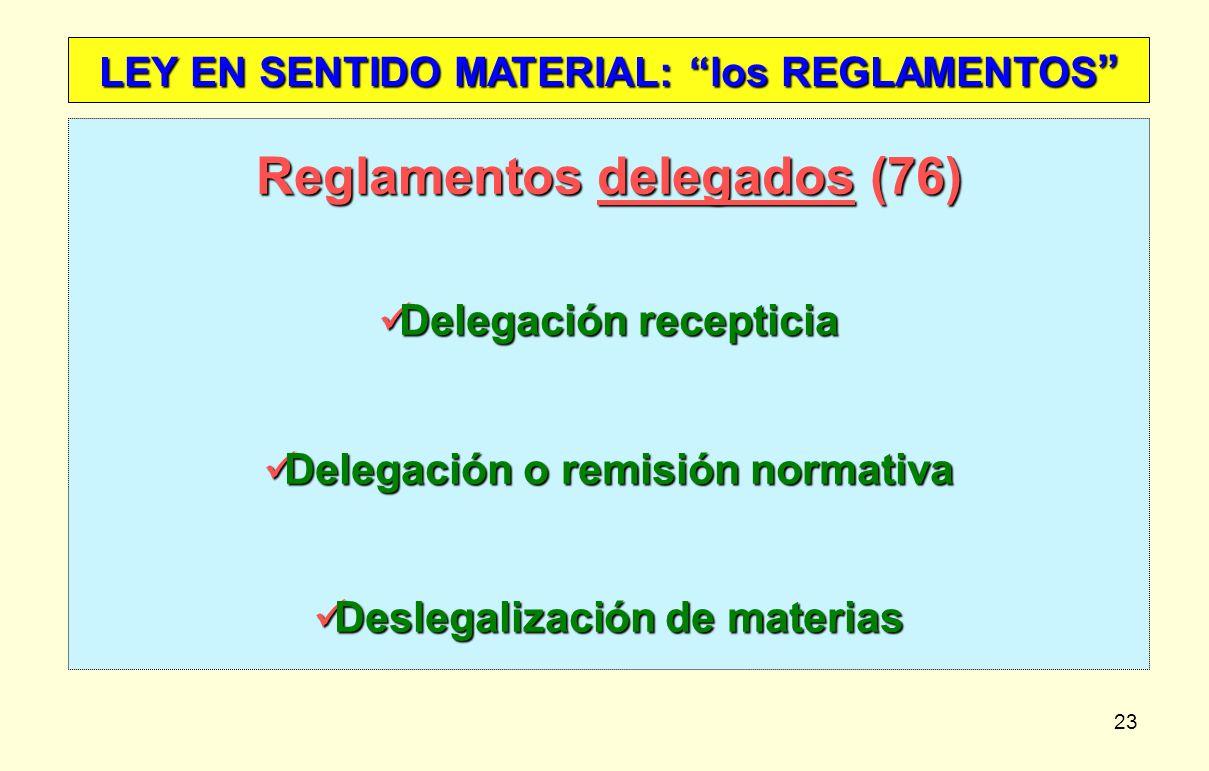 23 LEY EN SENTIDO MATERIAL: los REGLAMENTOS LEY EN SENTIDO MATERIAL: los REGLAMENTOS Reglamentos delegados (76) Delegación recepticia Delegación recep