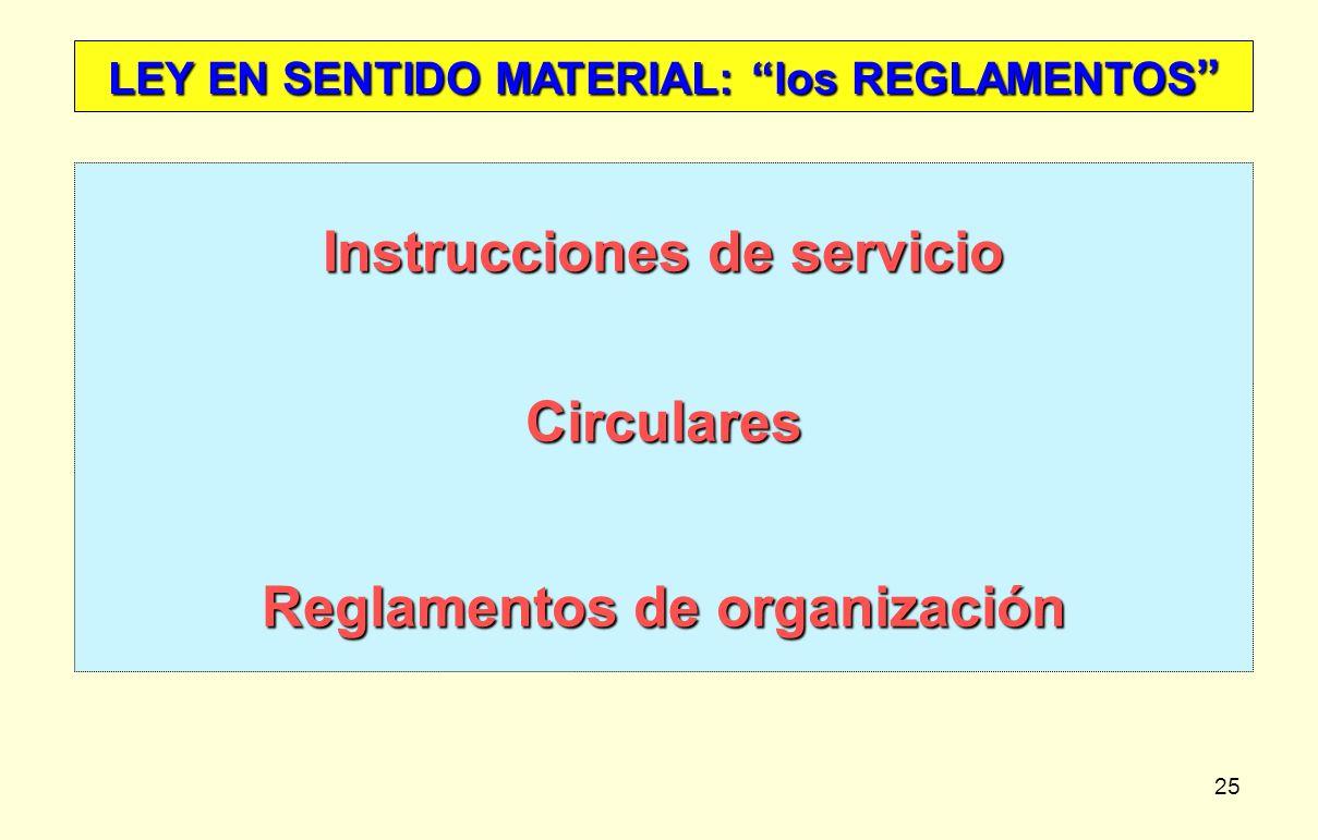 25 LEY EN SENTIDO MATERIAL: los REGLAMENTOS LEY EN SENTIDO MATERIAL: los REGLAMENTOS Instrucciones de servicio Circulares Reglamentos de organización