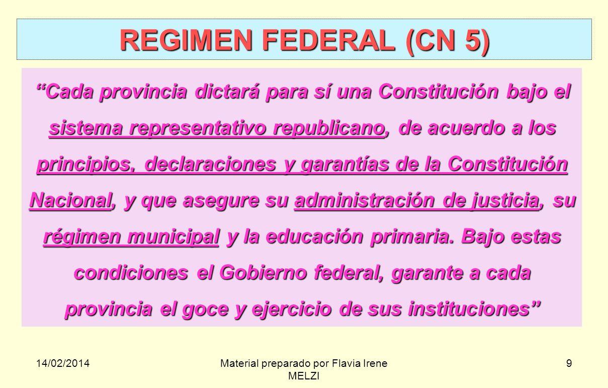 14/02/2014Material preparado por Flavia Irene MELZI 9 REGIMEN FEDERAL (CN 5) Cada provincia dictará para sí una Constitución bajo el sistema represent