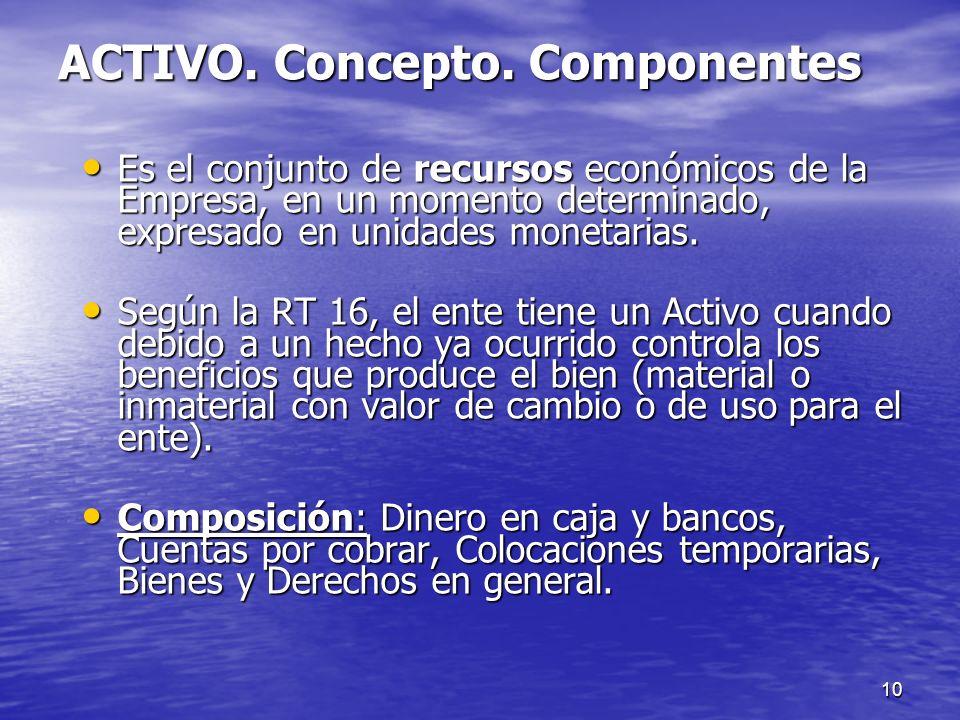 10 ACTIVO. Concepto. Componentes Es el conjunto de recursos económicos de la Empresa, en un momento determinado, expresado en unidades monetarias. Es