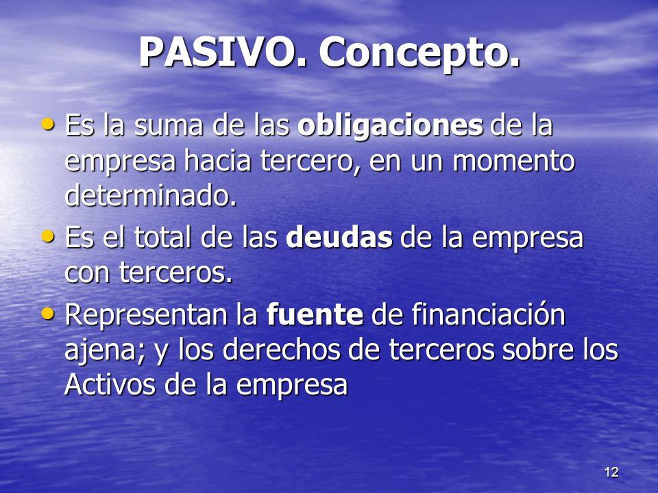 12 PASIVO. Concepto. Es la suma de las obligaciones de la empresa hacia tercero, en un momento determinado. Es la suma de las obligaciones de la empre