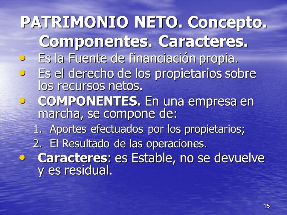 15 PATRIMONIO NETO. Concepto. Componentes. Caracteres. Es la Fuente de financiación propia. Es la Fuente de financiación propia. Es el derecho de los