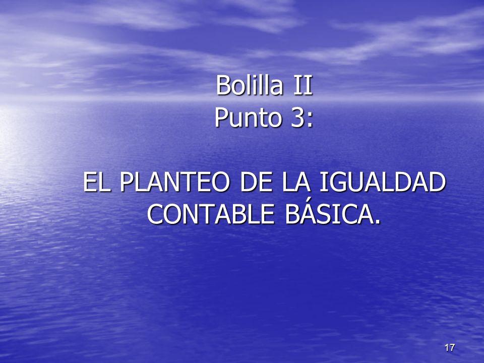 17 Bolilla II Punto 3: EL PLANTEO DE LA IGUALDAD CONTABLE BÁSICA. Bolilla II Punto 3: EL PLANTEO DE LA IGUALDAD CONTABLE BÁSICA.