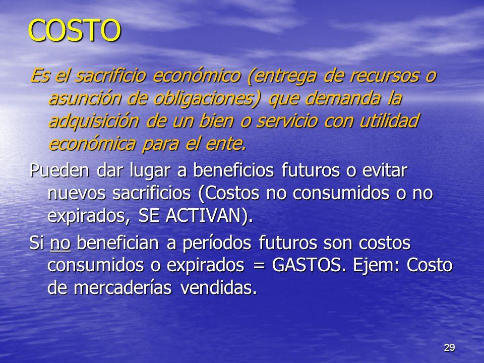 29 COSTO Es el sacrificio económico (entrega de recursos o asunción de obligaciones) que demanda la adquisición de un bien o servicio con utilidad eco