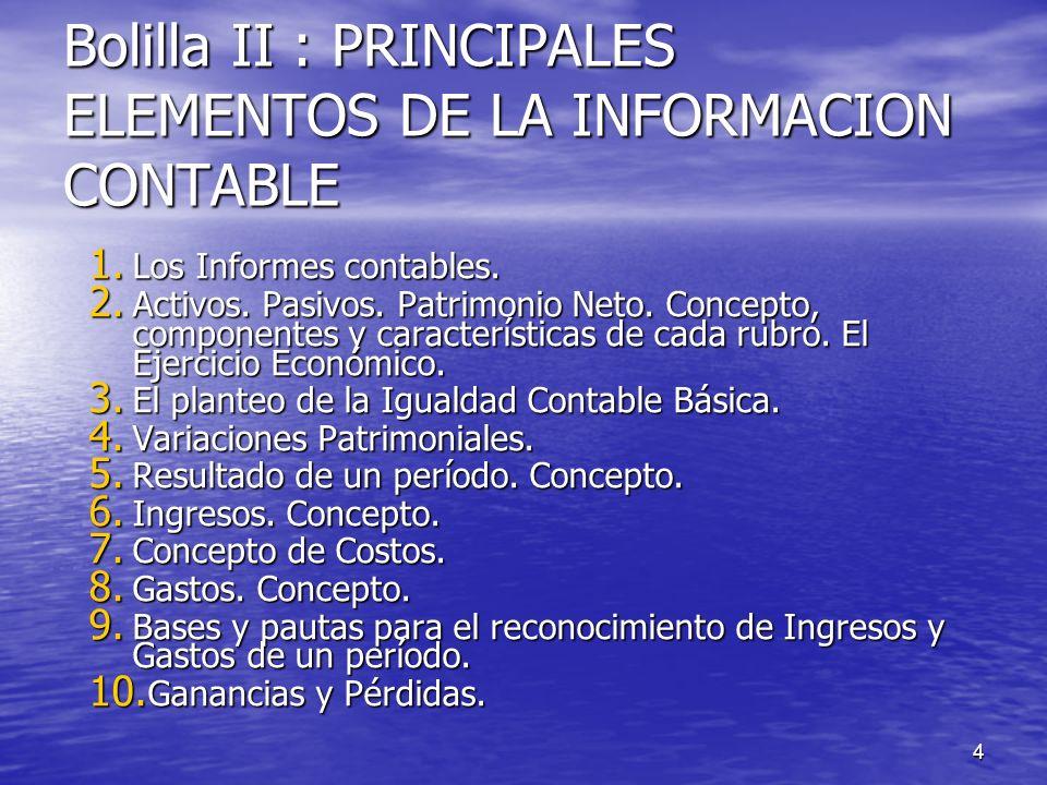 4 Bolilla II : PRINCIPALES ELEMENTOS DE LA INFORMACION CONTABLE 1. Los Informes contables. 2. Activos. Pasivos. Patrimonio Neto. Concepto, componentes