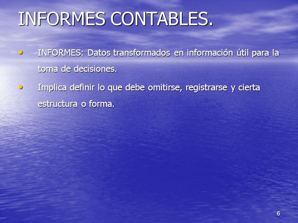 6 INFORMES CONTABLES. INFORMES: Datos transformados en información útil para la toma de decisiones. INFORMES: Datos transformados en información útil