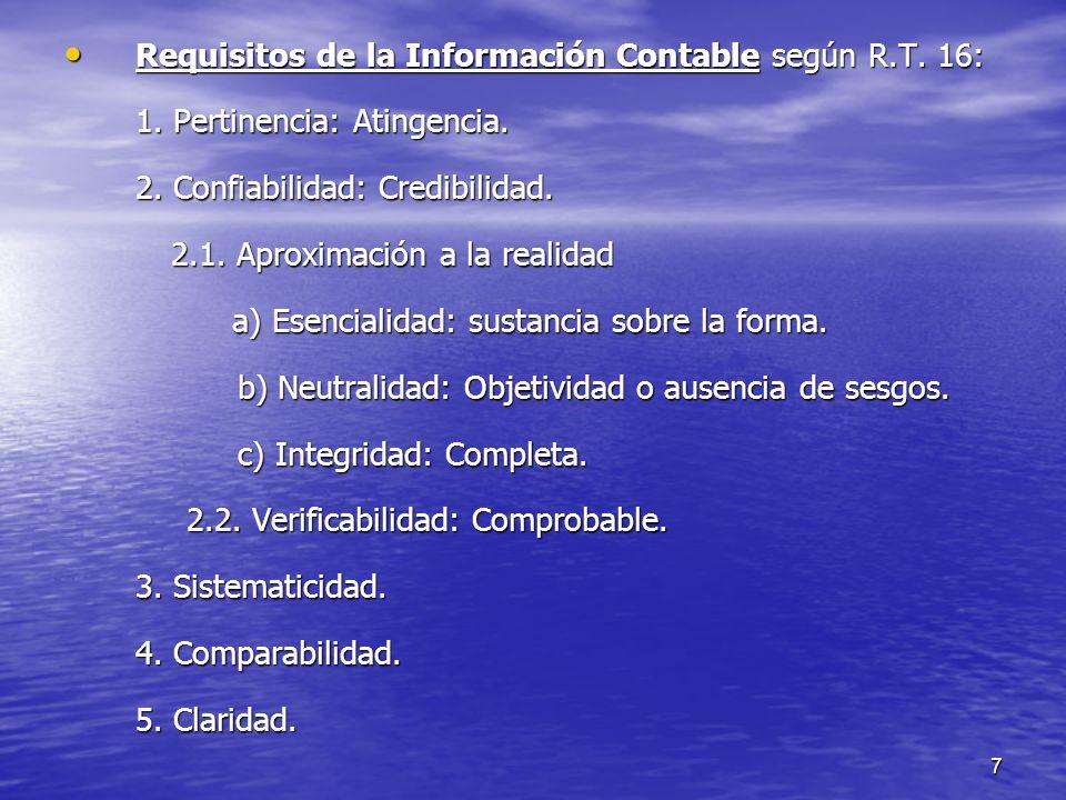 7 Requisitos de la Información Contable según R.T. 16: Requisitos de la Información Contable según R.T. 16: 1. Pertinencia: Atingencia. 2. Confiabilid