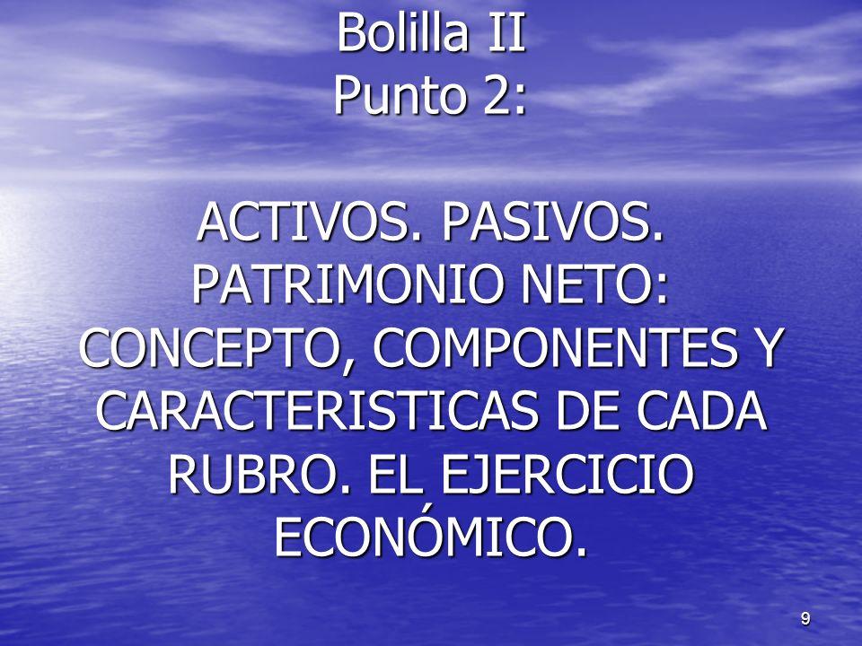9 Bolilla II Punto 2: ACTIVOS. PASIVOS. PATRIMONIO NETO: CONCEPTO, COMPONENTES Y CARACTERISTICAS DE CADA RUBRO. EL EJERCICIO ECONÓMICO.