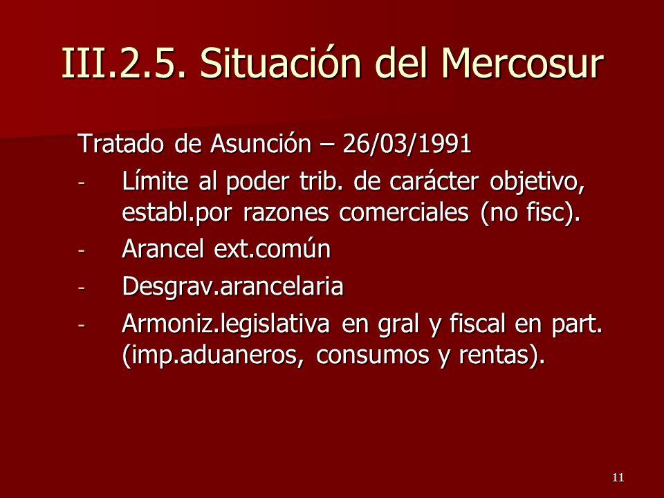 11 Tratado de Asunción – 26/03/1991 - Límite al poder trib. de carácter objetivo, establ.por razones comerciales (no fisc). - Arancel ext.común - Desg
