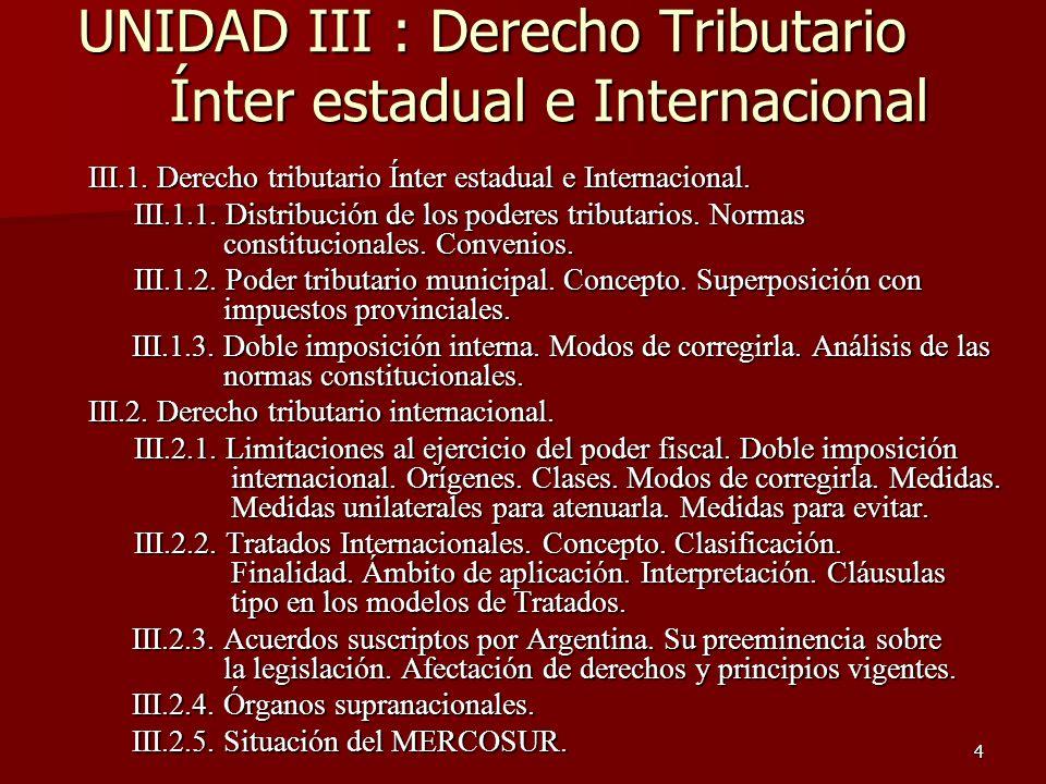4 UNIDAD III : Derecho Tributario Ínter estadual e Internacional III.1. Derecho tributario Ínter estadual e Internacional. III.1.1. Distribución de lo