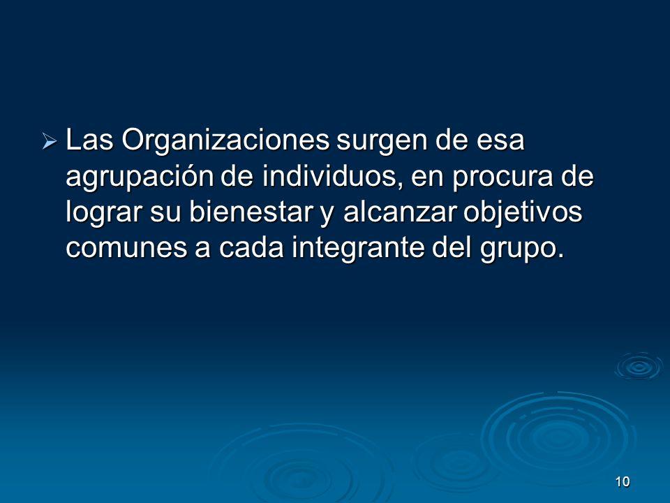 10 Las Organizaciones surgen de esa agrupación de individuos, en procura de lograr su bienestar y alcanzar objetivos comunes a cada integrante del gru