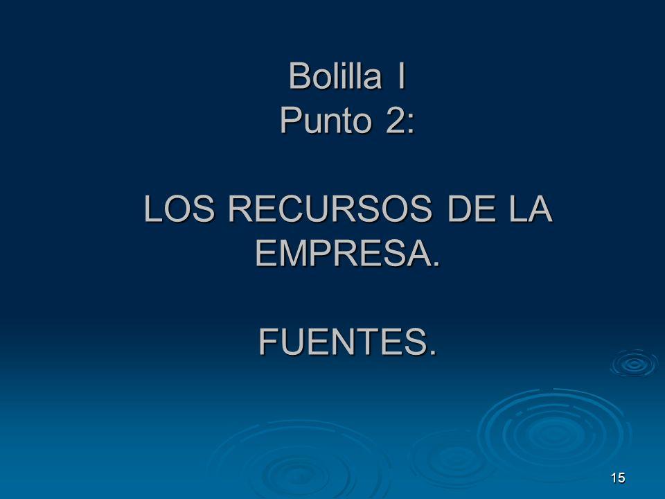 15 Bolilla I Punto 2: LOS RECURSOS DE LA EMPRESA. FUENTES.