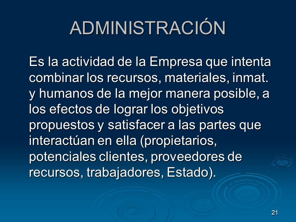 21 ADMINISTRACIÓN Es la actividad de la Empresa que intenta combinar los recursos, materiales, inmat. y humanos de la mejor manera posible, a los efec