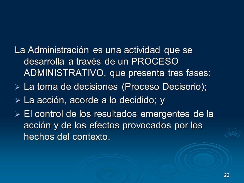 22 La Administración es una actividad que se desarrolla a través de un PROCESO ADMINISTRATIVO, que presenta tres fases: La toma de decisiones (Proceso