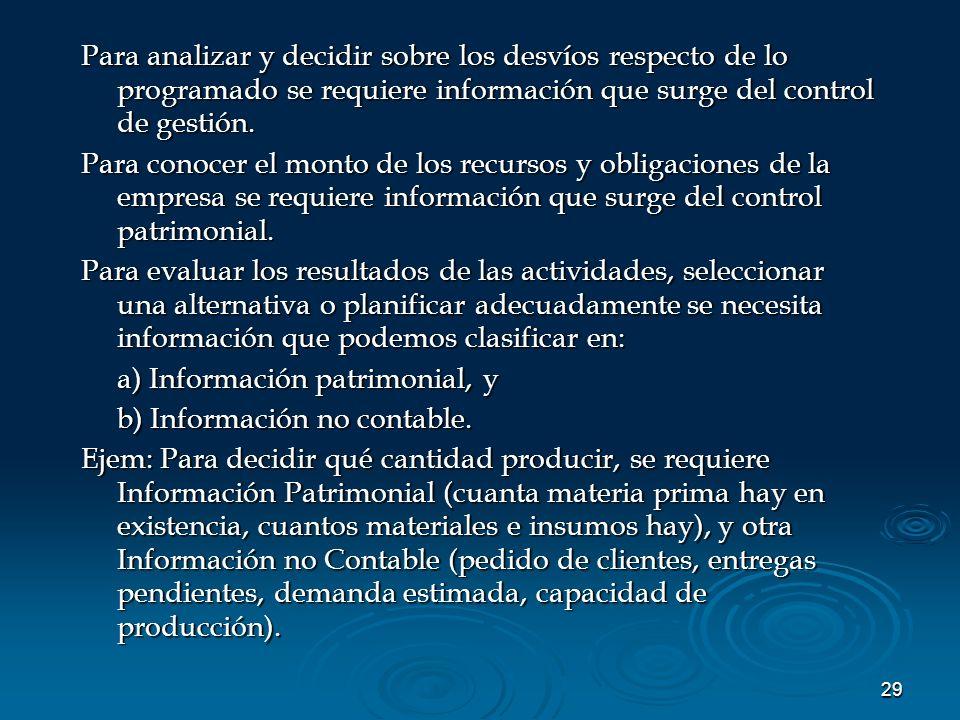 29 Para analizar y decidir sobre los desvíos respecto de lo programado se requiere información que surge del control de gestión. Para conocer el monto