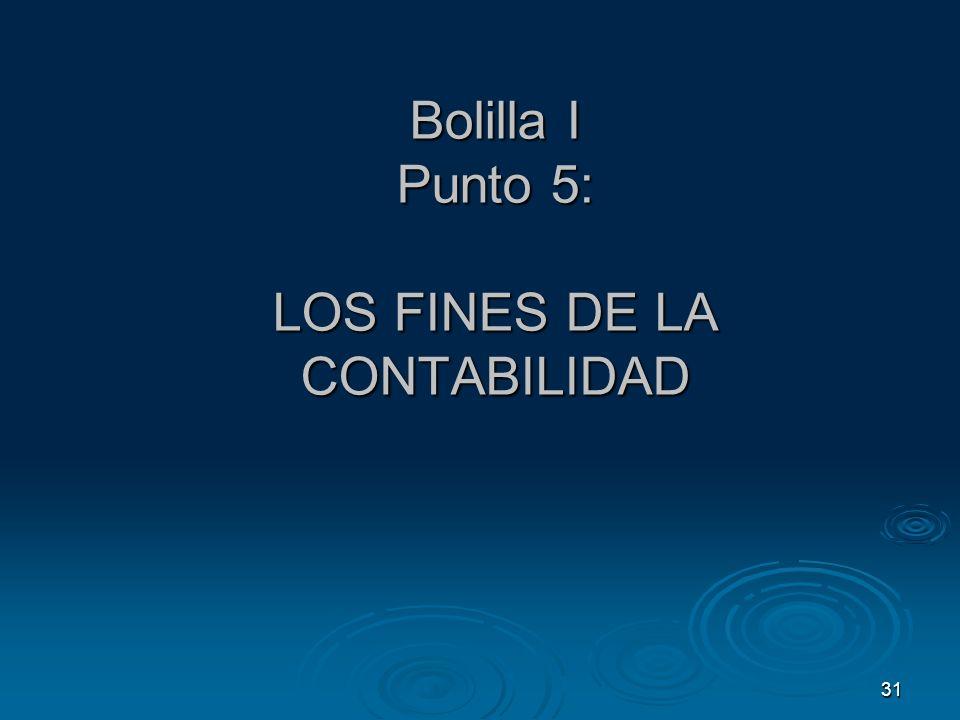 31 Bolilla I Punto 5: LOS FINES DE LA CONTABILIDAD