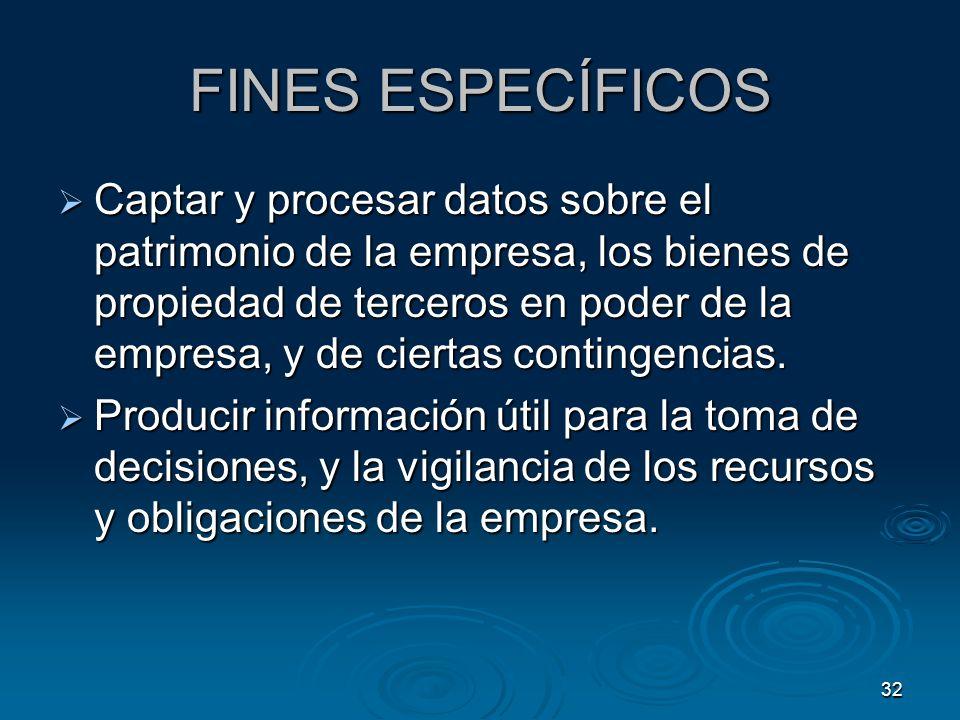 32 FINES ESPECÍFICOS Captar y procesar datos sobre el patrimonio de la empresa, los bienes de propiedad de terceros en poder de la empresa, y de ciert