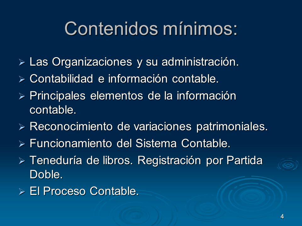 4 Contenidos mínimos: Las Organizaciones y su administración. Las Organizaciones y su administración. Contabilidad e información contable. Contabilida