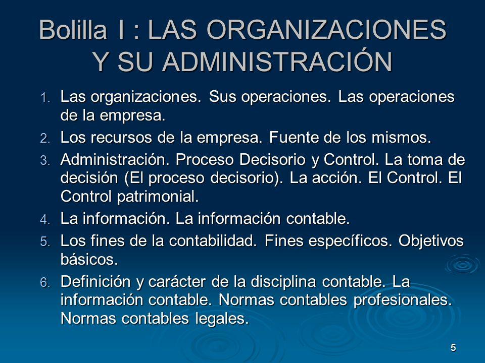 5 Bolilla I : LAS ORGANIZACIONES Y SU ADMINISTRACIÓN 1. Las organizaciones. Sus operaciones. Las operaciones de la empresa. 2. Los recursos de la empr