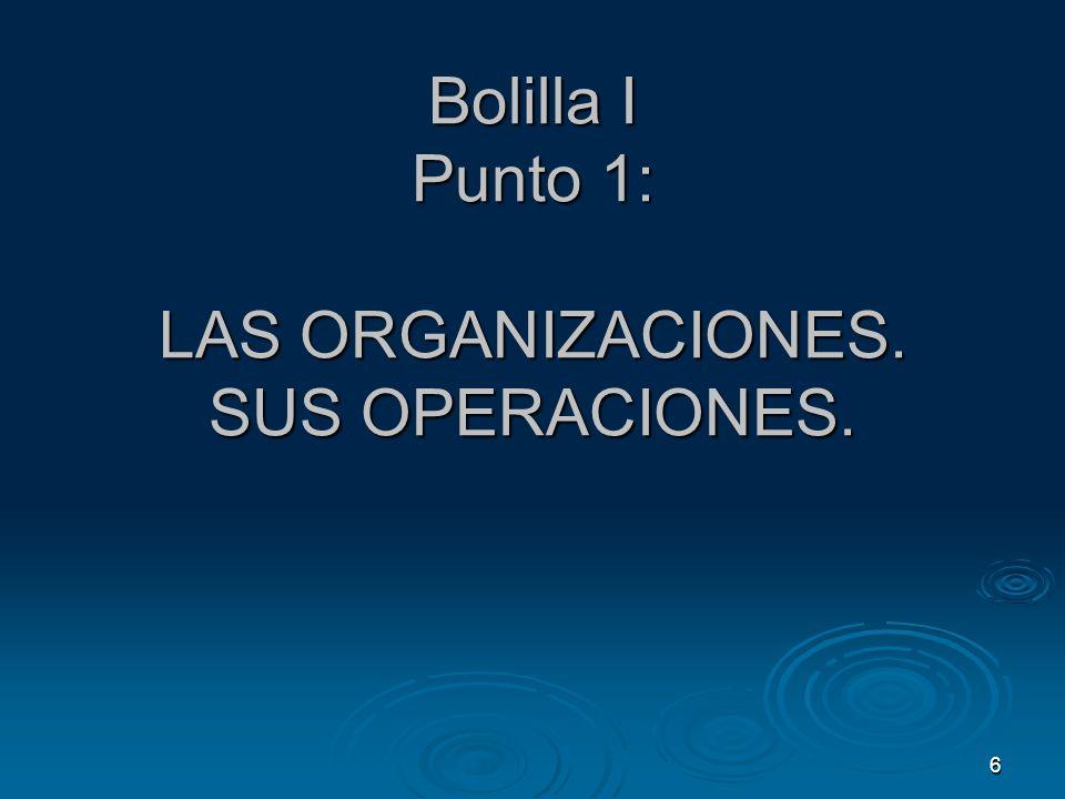 6 Bolilla I Punto 1: LAS ORGANIZACIONES. SUS OPERACIONES.