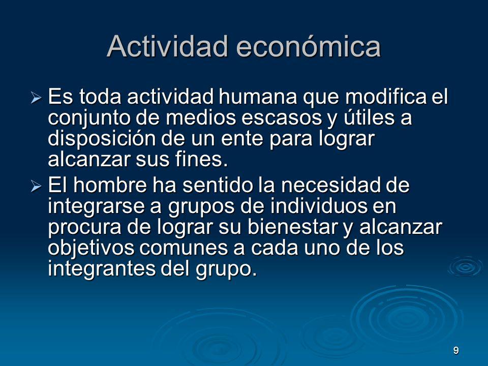 9 Actividad económica Es toda actividad humana que modifica el conjunto de medios escasos y útiles a disposición de un ente para lograr alcanzar sus f