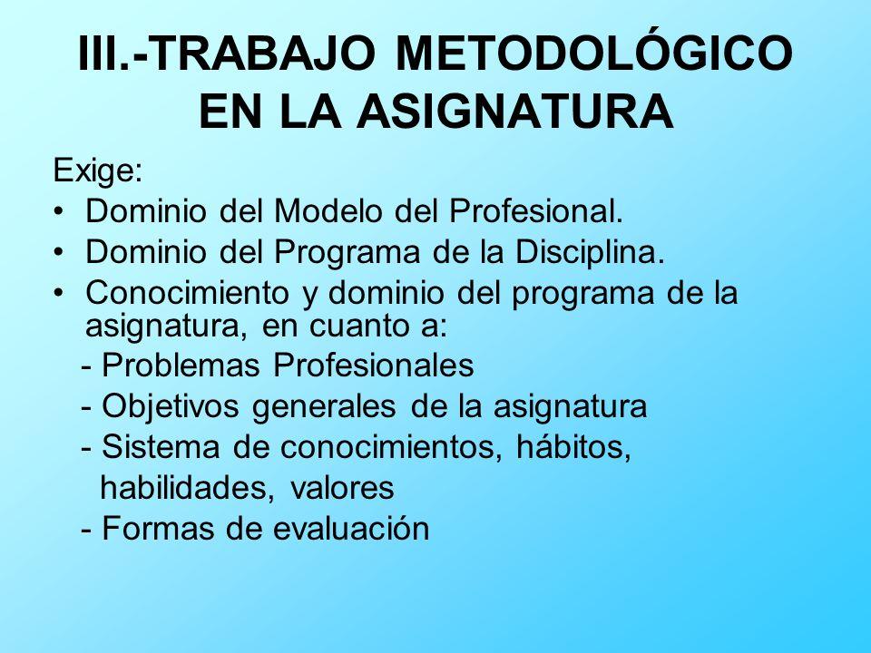 III.-TRABAJO METODOLÓGICO EN LA ASIGNATURA Exige: Dominio del Modelo del Profesional. Dominio del Programa de la Disciplina. Conocimiento y dominio de