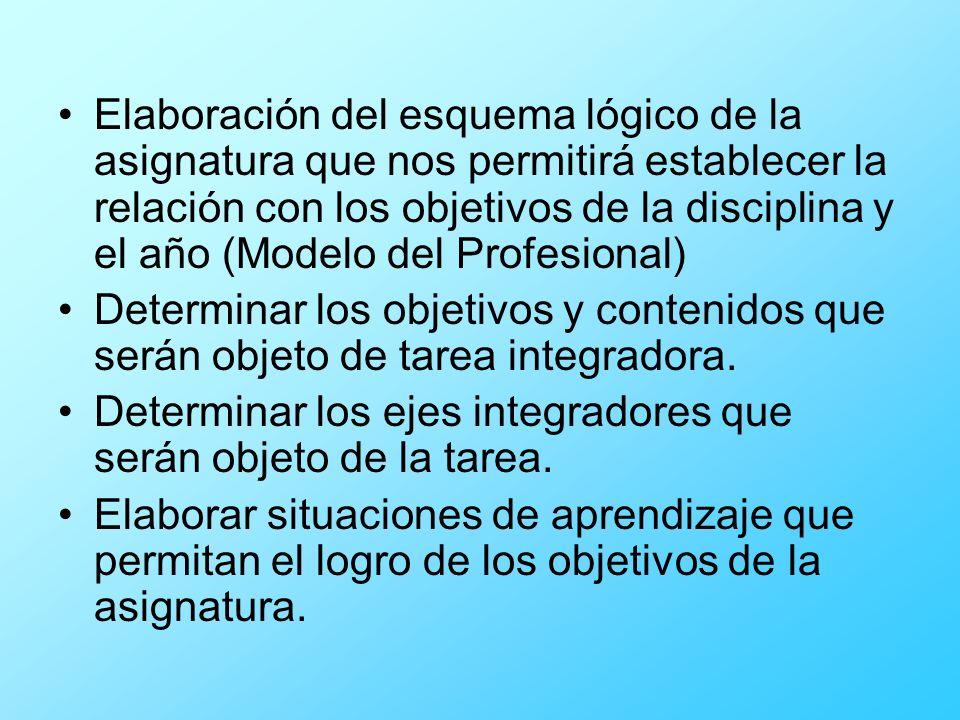 Elaboración del esquema lógico de la asignatura que nos permitirá establecer la relación con los objetivos de la disciplina y el año (Modelo del Profe
