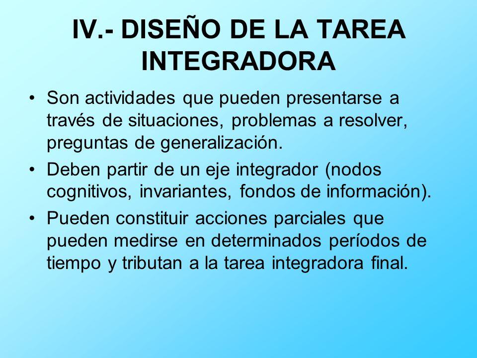 IV.- DISEÑO DE LA TAREA INTEGRADORA Son actividades que pueden presentarse a través de situaciones, problemas a resolver, preguntas de generalización.