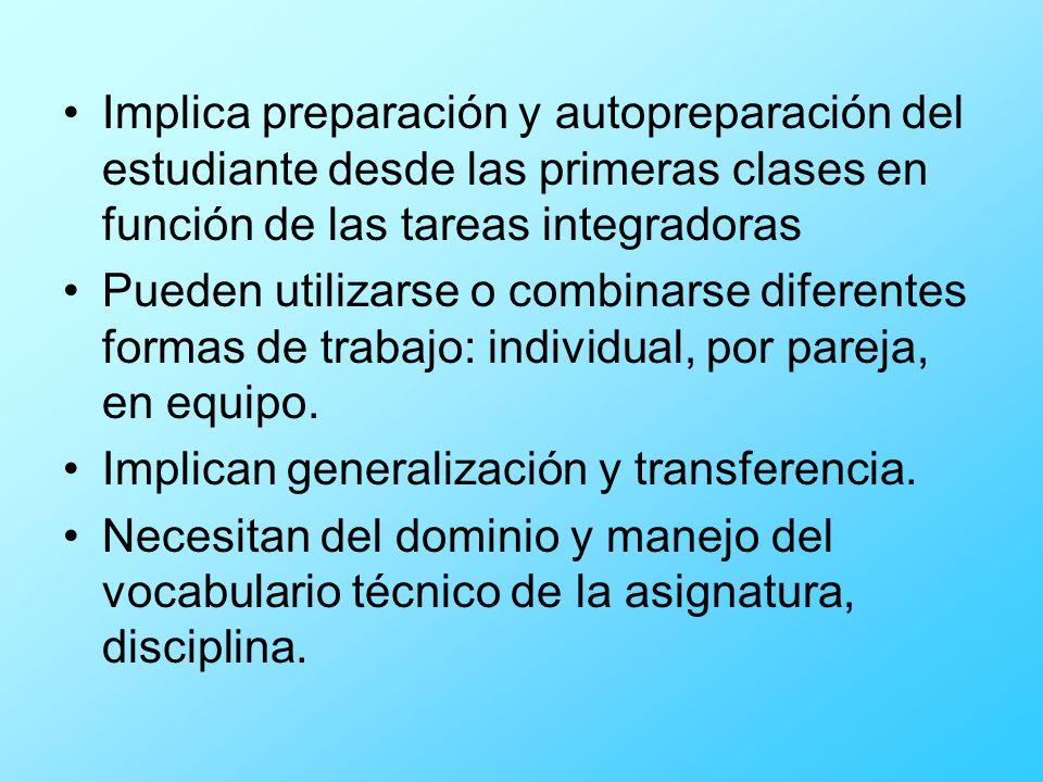 Implica preparación y autopreparación del estudiante desde las primeras clases en función de las tareas integradoras Pueden utilizarse o combinarse di