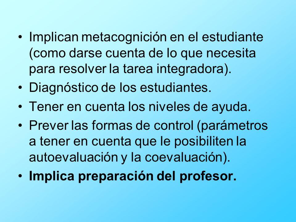 Implican metacognición en el estudiante (como darse cuenta de lo que necesita para resolver la tarea integradora). Diagnóstico de los estudiantes. Ten